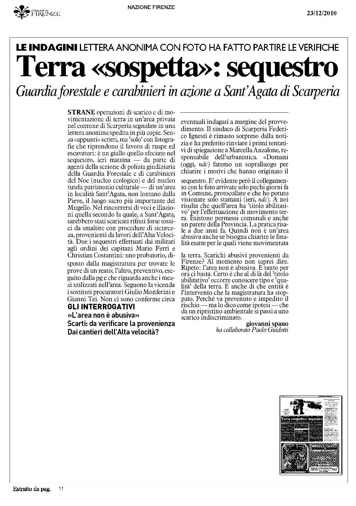Rassegna stampa del 23.12.2010