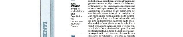 Oggi su Repubblica, pagine fiorentine