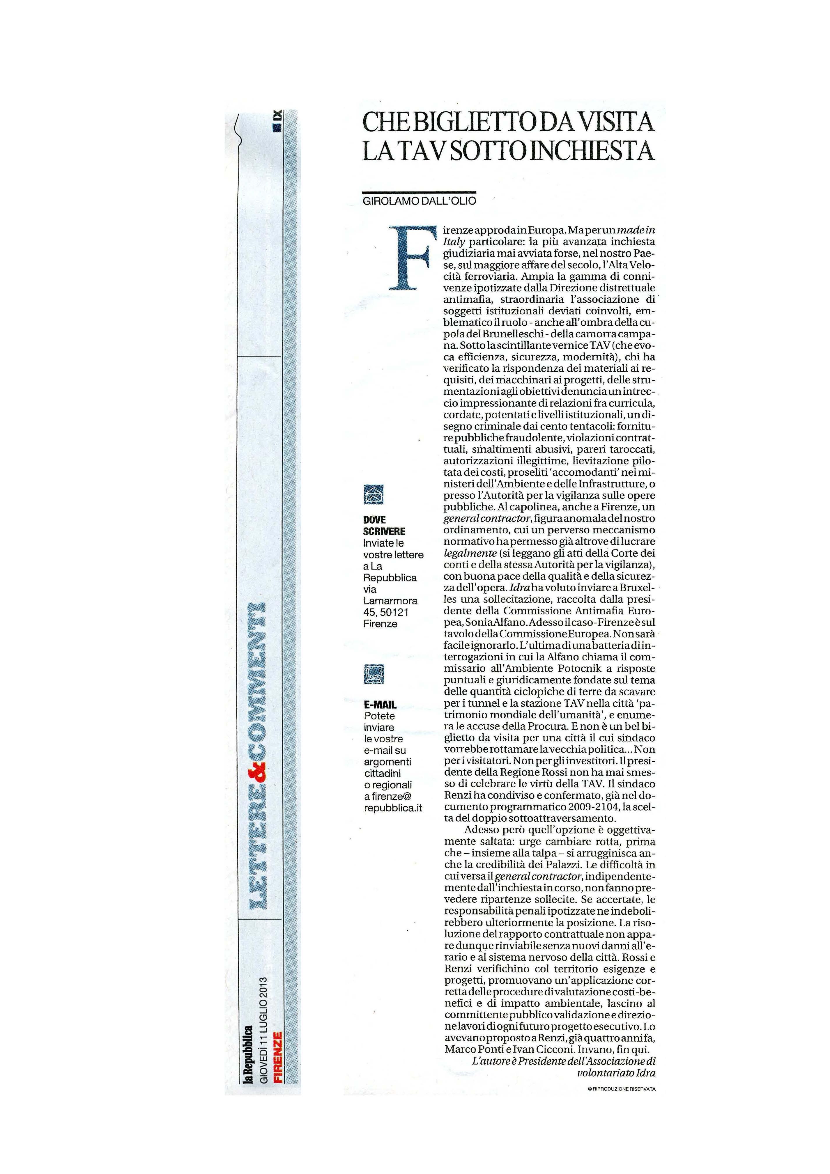 la Repubblica, Firenze, 11.7.'13, Che biglietto da visita la TAV sotto inchiesta, r