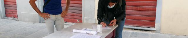 Piazza Pitti, firma della petizione per Laboratorio Belvedere, 26.2.'21