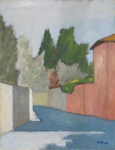 Ottone Rosai, Via San Leonardo, Casa rossa (1953), olio su tela, Raccolta privata, Firenze